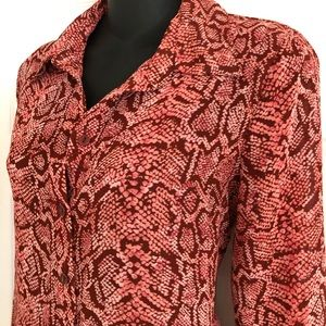 Tops - INC Red Snake Print Button down